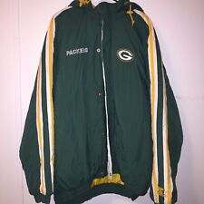 VTG 90s STARTER Green Bay Packers NFL Football Hooded Jacket Size 3XL