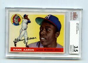 1955 Topps #47 Hank Aaron, Milwaukee Braves, BVG 3.5 VG+