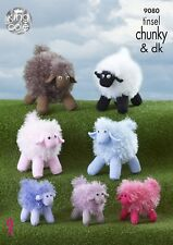 KINGCOLE 9080 - TINSEL SHEEP KNITTING PATTERN- 3 sizes - Not the finished toys