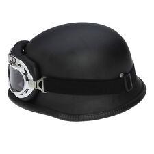 Elmetto tedesco militare nero opaco con occhiali  per motociclista cosplay soft