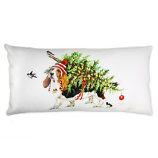 Pillow Basset with Christmas Tree 12 x 24