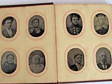 Antique Gem Miniature Photo Album 47 Tintype Photos