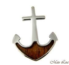 Koa Wood Hawaiian Boat Anchor Rhodium Silver Plated Brass Slide Pendant