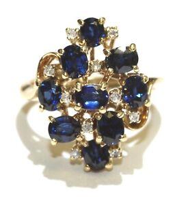 14k white gold .08ct diamond sapphire cocktail ring 4g estate vintage womens 4