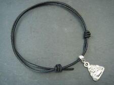 2mm black waxed nylon cord ankle bracelet adjustable with silver Buddha charm
