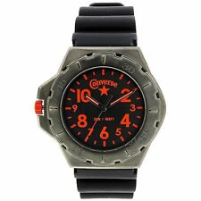 NEW Converse VR006-305 Men's Watch Black Rubber Band Analog Army-Green w/Orange