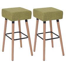 2x tabouret de bar Stirling, chaise de comptoir, tissu ~ vert clair