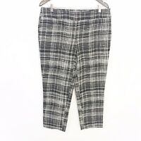 LOFT Black White Geometric Print Marisa Fit Cropped Capri Pants Women's Size 10