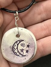 """Moon Worry Stone Handmade Pottery Native American 18"""" Black Rope Necklace T8"""