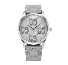 GUCCI YA1264058 G-Timeles GG Motif Hologram Dial Leather Strap Unisex Watch