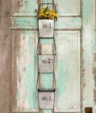Galvanized Metal Hanging Numbered Wall Pockets - Set of 3 Three - Farmhouse