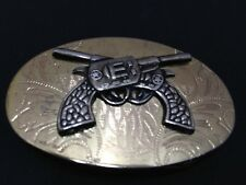 Crossed Six Shooters - Small Belt Buckle - Nicely Etched - Free Shipping