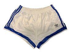 Adidas vintage Sprinter Shorts Gr. 7 L Sporthose 80s shiny Running weiß blau FS4