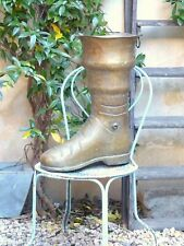 """20"""" Large BOOT MID CENTURY FRENCH HAMMERED BRASS UMBRELLA STAND HOLDER Deco"""