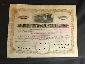 Vintage 1893 The Electric Traction Company of Philadelphia Stock Certificate