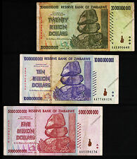 20 / 10 / 5 Billion Zimbabwe Dollars Banknotes AA 2008 Paper Money Currency Set