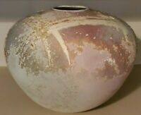 Tony Evans Signed Vase Raku Pottery Ceramic Large 12.5 x 12.5 x 10 Ancient Sands