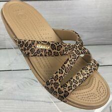 Crocs Patricia II Leopard Cheetah Print Wedge Strappy Slides Sandals Womens Sz 8
