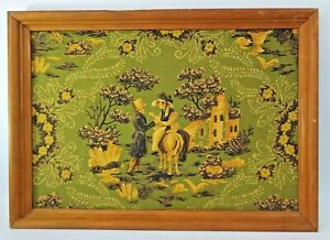 19th Century Country Lovers Framed Trapunto Fiber Art Manor Horse Floral Green