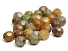 6mm Opaque Gemtone Luster Picasso Czech Glass Firepolished Round Beads (25)#4278