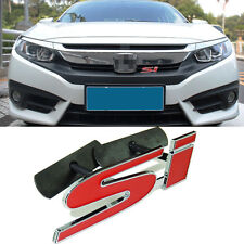 1 Pcs New SI Front Grille Grill 3D Red Emblem Sticker Badge For Honda Civic S245