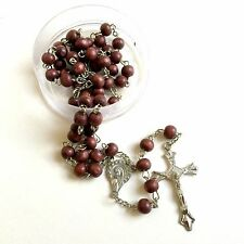 Rosary Catholic wood Beads Rosary Prayer Necklace in coffee