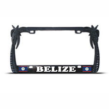 BLACK Metal PALM TREE BELIZE FLAG TROPICAL License Plate Frame Tag Border