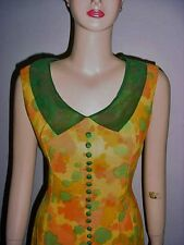Vintage Linen Dress - Fabulous Collar - Watercolor of Oranges/Yellows/Gold/Green