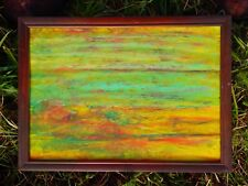 Coloristic Imaginative Scenery. Original Framed Oil Pastel Landscape For Sale.