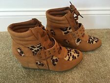 Bucco Capensis Leopard Cheetah Print Sneaker Wedge Boots