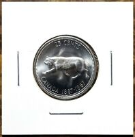 Canada 1967 *Rotated Dies* Centennial Silver Quarter 25 Cents Blast White!!