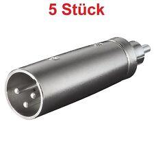 Mikrofon Adapter XLR Stecker 3 polig Cinch Chinch Cinc Cynch RCA Stecker Metall