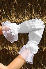 Gants Courts Satin Mariage Noeud Fleur Blanc Mariage Opéra