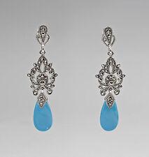 925 Argent Turquoise Marcassite Boucles D'Oreilles 9927332