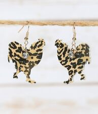 Rhinestone Chicken Leopard Rooster Earrings