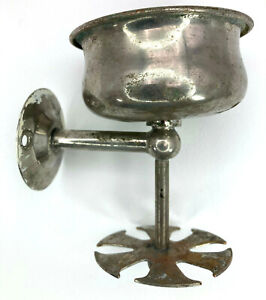 """Vintage Wall Mount Metal Cup & Toothbrush Holder 4"""" Silver Tone Over Brass"""