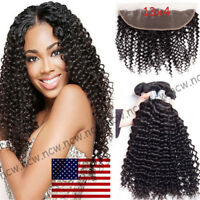 13x4 Lace Closure With 3 Bundles Peruvian Virgin Human Hair Curly Deep Wave B790