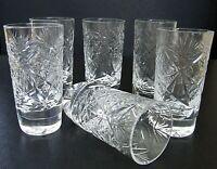 Set of 6 Russian Cut Crystal Shot Glasses 0.85 oz Soviet / USSR Vodka Glassware