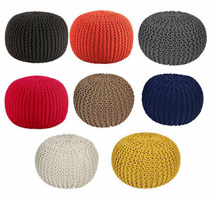 SLEEPSCENE Knitted Pouffe Footstool Bean Filled 100% Cotton In Various Colours