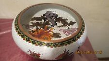 Chinese Cloisonné Bowl, Peonies and Butterflies, Ruji Head Border