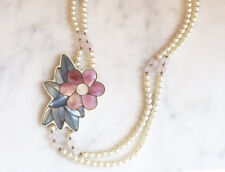 Vintage 70s Pink Flower Necklace Mother of Pearl Inlay Pendant Lee Sands