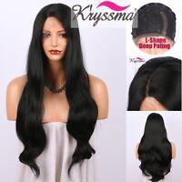 Women's Black Synthetic Lace Wig L-Shape Long Wavy Japanese Fiber Synthetic Wigs