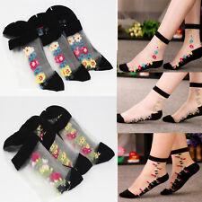 Sheer Transparent Lace Floral Ruffle Ankle Socks Women Crystal Socks Summer