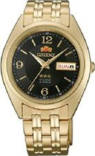 Orient Mens Automatic Movt 3 Star Watch Gold Tone Black Dial FAB0000CB9
