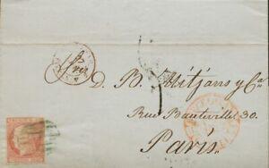 España. Cataluña. History Postal. Over 12. 1852. 6 Cuartos Rosa. Barcelona A