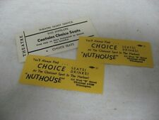 """Vintage """"NUTHOUSE"""" Theatre Tickets ~ Wilmington ~ Choicest Spot in the Harbor ~"""