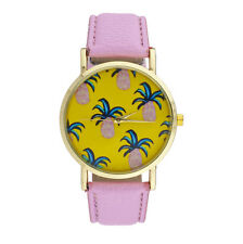 Face Fruity Tropical Kitschy Watch Lux Accessories Pink Pu Leather Pineapple
