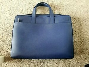 Jack Spade Slim Brief Barrow Leather Briefcase Admiral Blue (Retail $400!!)
