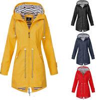 Women Raincoat CA Waterproof Solid Outdoor Hooded Jacket Winter Rain Windproof