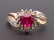 10k Yellow White Gold Heart Cut Shaped 1ct Synthetic Red Ruby Love Ring Size 5